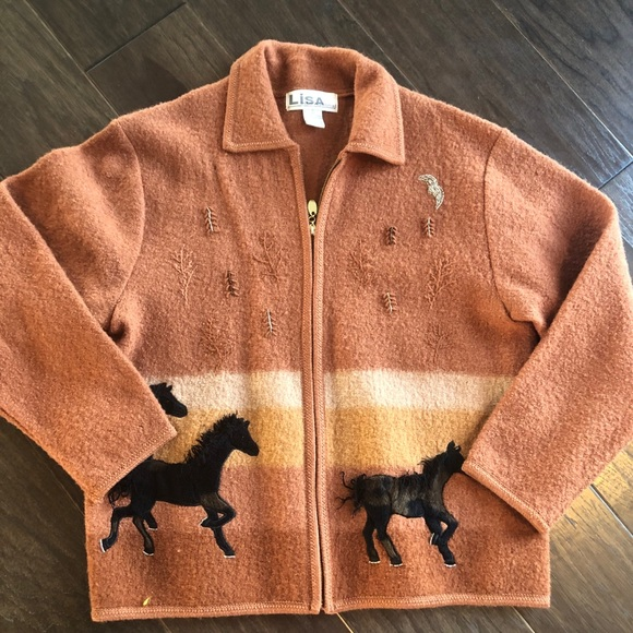Cardigan zip up with horse theme size xl